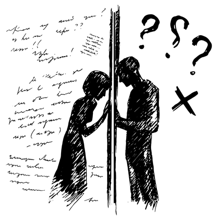 Incomprehension couple man woman talking through the wall. Sketch vector illustration. Misunderstanding conflict