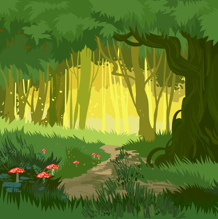 Fabulous hellen grünen Sommer Wald Vektor Hintergrund Dschungel mit Fliegenpilz und Pilze und Wald Weg Cartoon-Stil