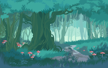 Fabulous shades of blue dusk forest jungle vector background forest with toadstool and mushrooms Illustration