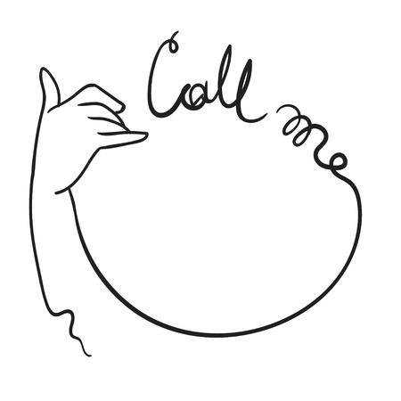 Call me sign with elegant womans hand vector sketch Illustration