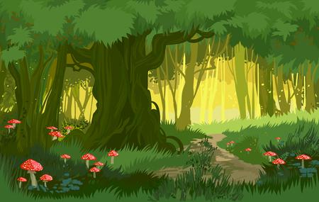Vector illustration bright green summer magical forest vector background mushrooms Stock Illustratie
