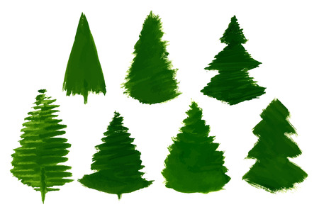 set of 7 cartoon pine trees painted isolated royalty free cliparts rh 123rf com cartoon pine trees pictures Cartoon Christmas Tree