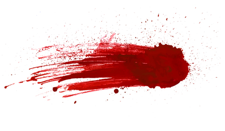 Blood splatter painted vector isolated on white for design. Red dripping blood drop Stock Illustratie