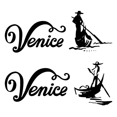 Venedig Gondel, Gondoliere Rudern Ruder Zeichen. Italien Reisen. Vector Beschriftung Skizze Abbildung. Branding Identität Corporate Logo Design-Vorlage auf einem weißen Hintergrund