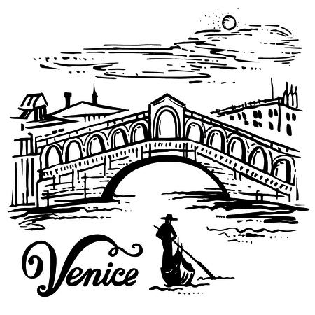 Ink drawing of The Bridge of Rialto, Venezia, Italy - vector sketch illustration Venice Illustration