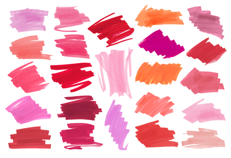 Sammlung von verschiedenen Smears Lippenstift auf weißem Hintergrund. Vektormarkierungsetikett oder Überschriftenvorlage