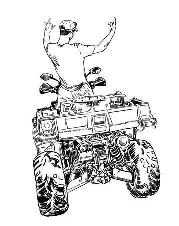 스케치 벡터 일러스트 레이 션, 쿼드 자전거 실루엣, ATV 로고 디자인 흰색 배경에. 스톡 콘텐츠 - 87626832