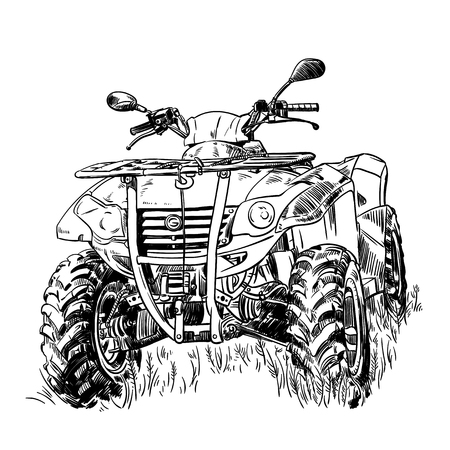 Sketch vector illustration, quad bike silhouette, ATV logo design on a white background.