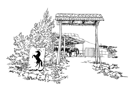Vector engraved sketch style illustration of a horse stable with the silhouette of a horse inside the barn. Illustration