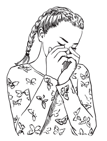 Young cute girl in sleepwear is crying, covering her face with her hands. Sad woman vector illustration sketch style