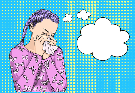 Beautiful blond bunches haired girl sneezing blowing nose on tissue because of spring allergy or crying. Vector sketch illustration