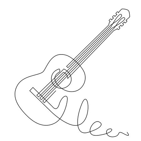 Doorlopende lijntekening van akoestische gitaar vector. Muziekinstrument voor decoratie, ontwerp, uitnodiging jazzfestival, muziekwinkel. Stockfoto - 99683360