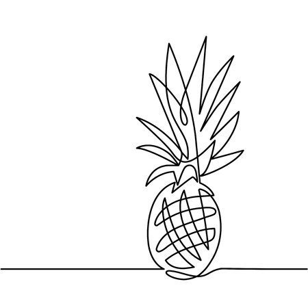 continuous line drawing of pineapple concept of fruit vector illustration Иллюстрация