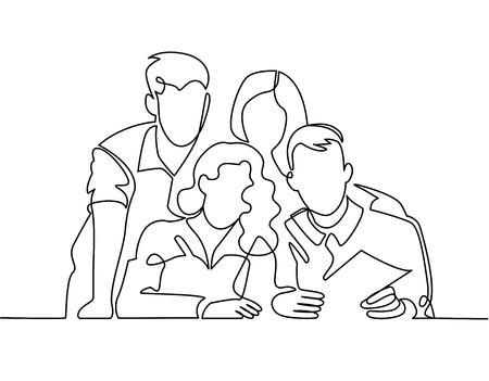 Kontinuierliche Strichzeichnung des Geschäftsteams oder der vereinigten Familie