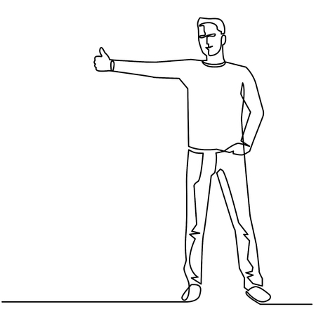 Continuous Line Drawing of Vector Hitchhiking on the road. Man with a backpack stopped a ride by thumbing. Isolated illustration of hitchhiker.