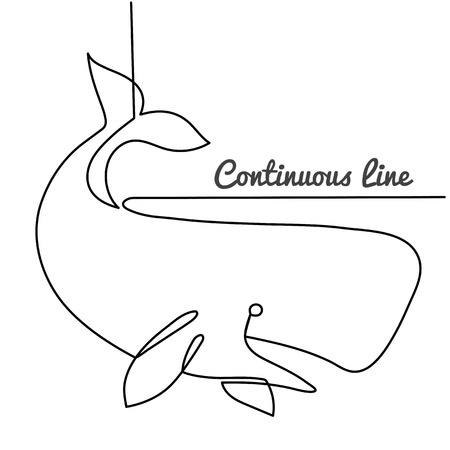 continuous line drawing of White sperm whale. Hand drawn simple vector illustration