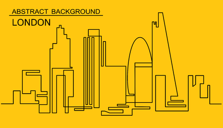 Continuous Line Drawing of Vector skyline. One line style London cityscape. Simple modern minimalistic style metropolis