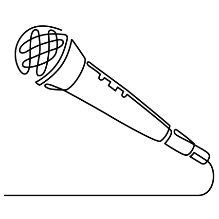 Continuous Line Drawing of Vector wired microphone icon thin line for web and mobile, modern minimalistic linear design