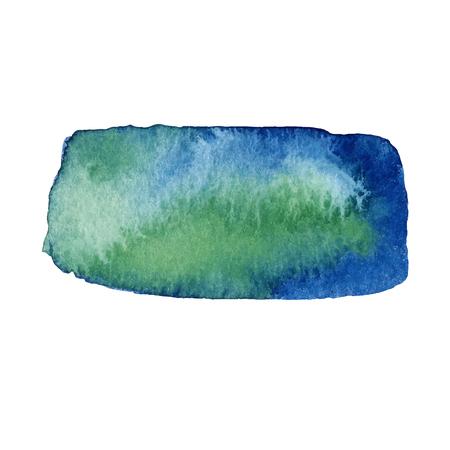 Acuarela verde y azul dibujado a mano mancha aislada sobre fondo blanco. Trazo de pincel húmedo pintado ilustración vectorial abstracta.