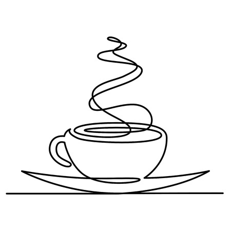 Continuous line drawing of cup of tea or coffee with steam linear icon. Thin line vector hot drink illustration. Contour simple symbol isolated outline