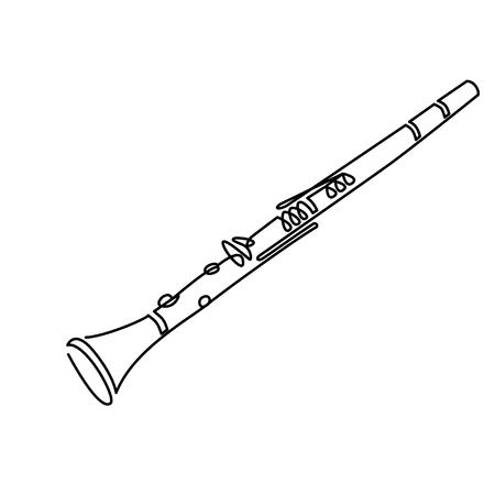 Klarinet lijnwerk tekening op wit. vector illustratie