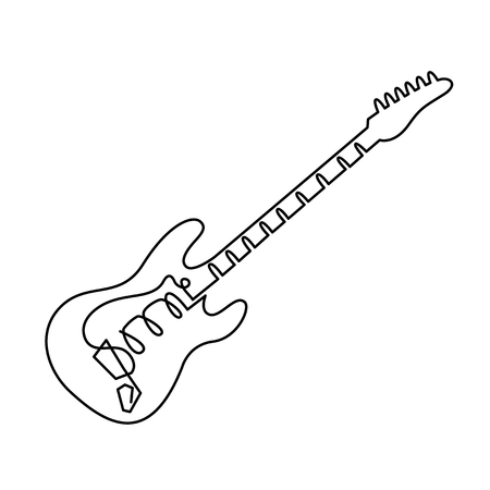 continuous line drawing of Electric guitar icon. Outline electric guitar vector icon for web design isolated on white background