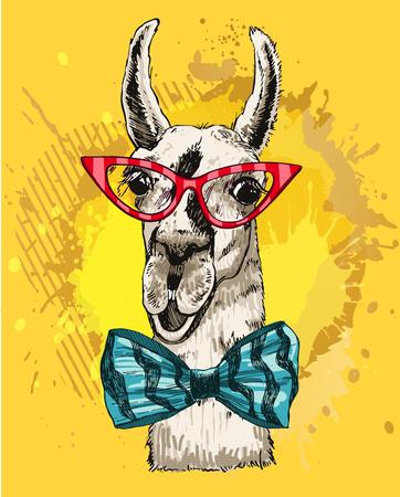Vector illustration lama head in fashionable glasses and a bow tie. Llama or alpaca smiling hand drawn ink sketch. Ilustração