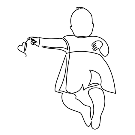 continuous line drawing of A cute baby is lying on the white background