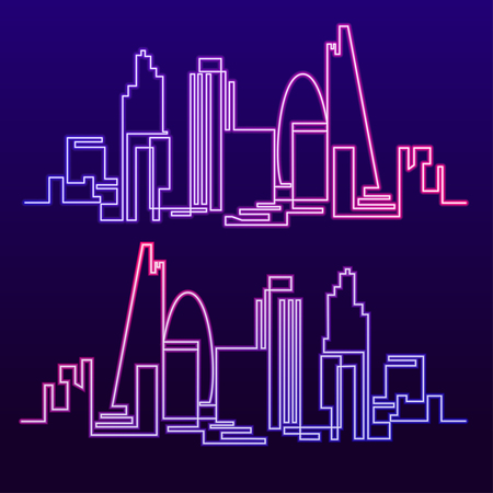Continuous Line Drawing of Vector skyline the night city of neon glow is burning. One line style fluorescent London cityscape. Simple modern minimalistic style metropolis