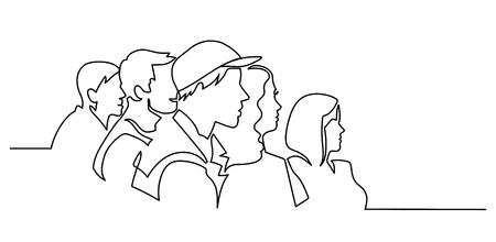Disegno di linea continuo del carattere di illustrazione vettoriale del pubblico sullo sfondo della sala conferenze con spazio vuoto per il testo e il design. Contorno, arte al tratto sottile, schizzo disegnato a mano. Vettoriali