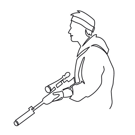 Continuous One Line Drawing of Paintball Player or Sketch vector illustration the silhouette of a soldier in profile with a gun ready for battle