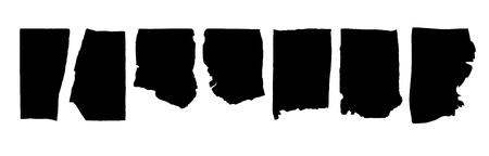 Black highlight stripes, banners paper break. Stylish highlight web elements for design. Vector banners breakage black color 向量圖像