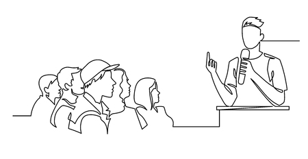 Continuous Line Drawing of Vector A speaker in front of an audience. hand drawn style vector doodle design illustrations Foto de archivo - 114596915