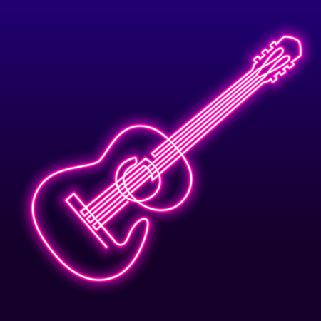 Neon pink light lamp continuous line drawing of acoustic guitar vector. Musical instrument single line for decoration, design, invitation jazz festival, music shop