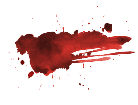 Art peint par éclaboussures de sang sur blanc pour la conception d'halloween. Aquarelle de goutte de sang dégoulinant rouge. Illustration vectorielle