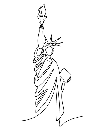 continuous line drawing of the Statue of Liberty, New York, USA, vector illustration. Reklamní fotografie - 114597331