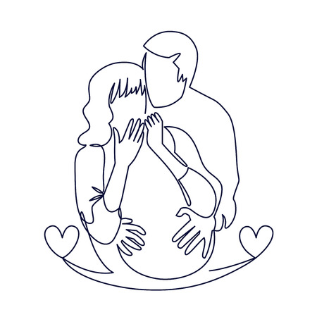 Continuous single drawn one line of enamored conjugal pregnant couple drawn by hand picture silhouette. One line art vector illustration. Character of a pregnant woman with her husband