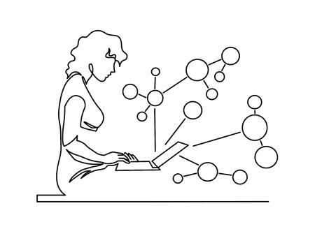 Mujer charlando dibujo vectorial continuo de una línea