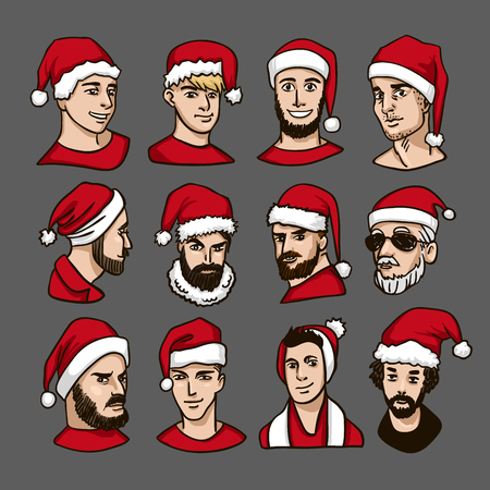 Christmas party. Celebrating New Year. Group of people in red Santas hat Vintage Hand Drawn Gentleman Set. Mens clothing winter cartoon bright color Vector illustration.