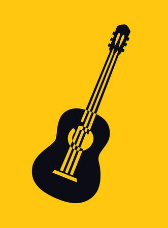 Black silhouette drawing of acoustic guitar vector illustration. Musical instrument for decoration, design, invitation jazz festival, music shop. Archivio Fotografico - 114598016