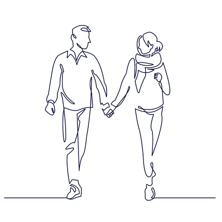 Young couple walking together holding hands continuous one line vector drawing. Romantic date. Hand drawn family. Boyfriend and girlfriend hiking. People in love. Minimalistic contour illustration Ilustração