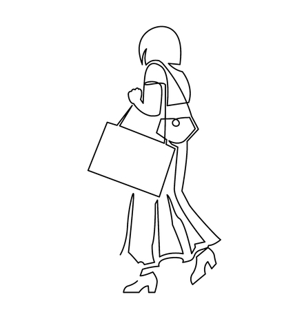 Hand drawn line art vector illustration of adult woman in long skirt walking to shop, view from back. Continuous one line drawing woman with bags goes to work