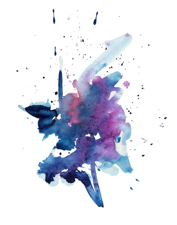 Abstract isolated colorful watercolor stain blue purple color. Grunge painted element for paper design wash drawing vector illustration