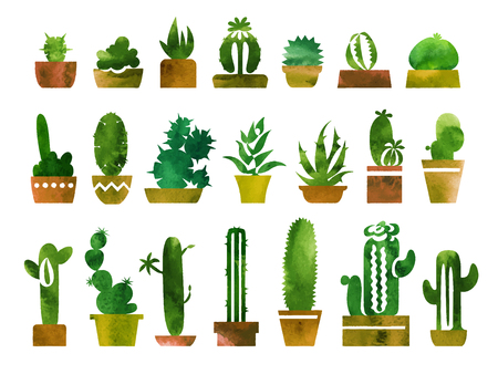 Houseplants vector watercolor illustrations set. Flower pots with cactuses and succulents. Water color textured house plants silhouettes. Hand painted drawing. Isolated handdrawn indoor plants clipart