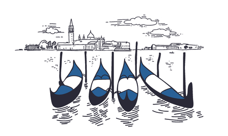 Piazza San Marco and Doge Palace sketch. Venice hand drawn vector illustration. Floating gondolas on canal. Black ink pen drawing. City architecture. Cityscape graphic composition. Travel postcard