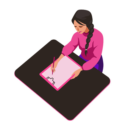 Girl writes in pen on paper flat vector illustration. Studying young woman cartoon character. Schoolgirl, teenager. Sketch student preparing to pass exam clipart. Education and study vector concept