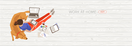 Working at home flat banner vector design idea. Remote, freelance job color illustration with copyspace. Home workspace vertical background with space for text. Freelancer with dog cartoon character