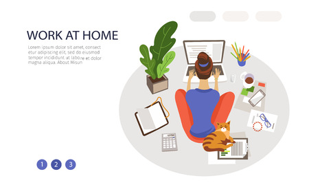 Work at home landing page vector template. Remote job webpage design layout with flat illustrations. Young woman working with laptop. Freelance website, web banner color concept Ilustração