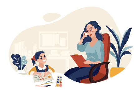 Working mother with daughter flat vector illustration. Career mum. Busy mummy. Work at home mom. Kid drawing at parent office. Woman talking on phone. Businesswoman cartoon color character