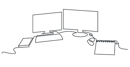Espacio de trabajo moderno dibujo vectorial continuo de una línea. Silueta dibujada a mano de escritorio. Dos monitores de computadora con teclado, mouse y notebook. Esenciales en el lugar de trabajo. Ilustración de contorno minimalista Ilustración de vector